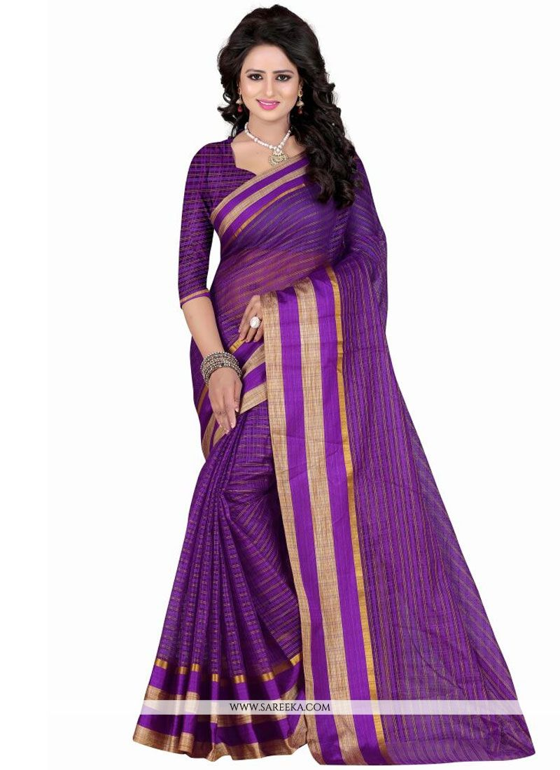 Patch Border Work Polly Cotton Casual Saree