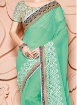 Faux Chiffon Green Classic Designer Saree