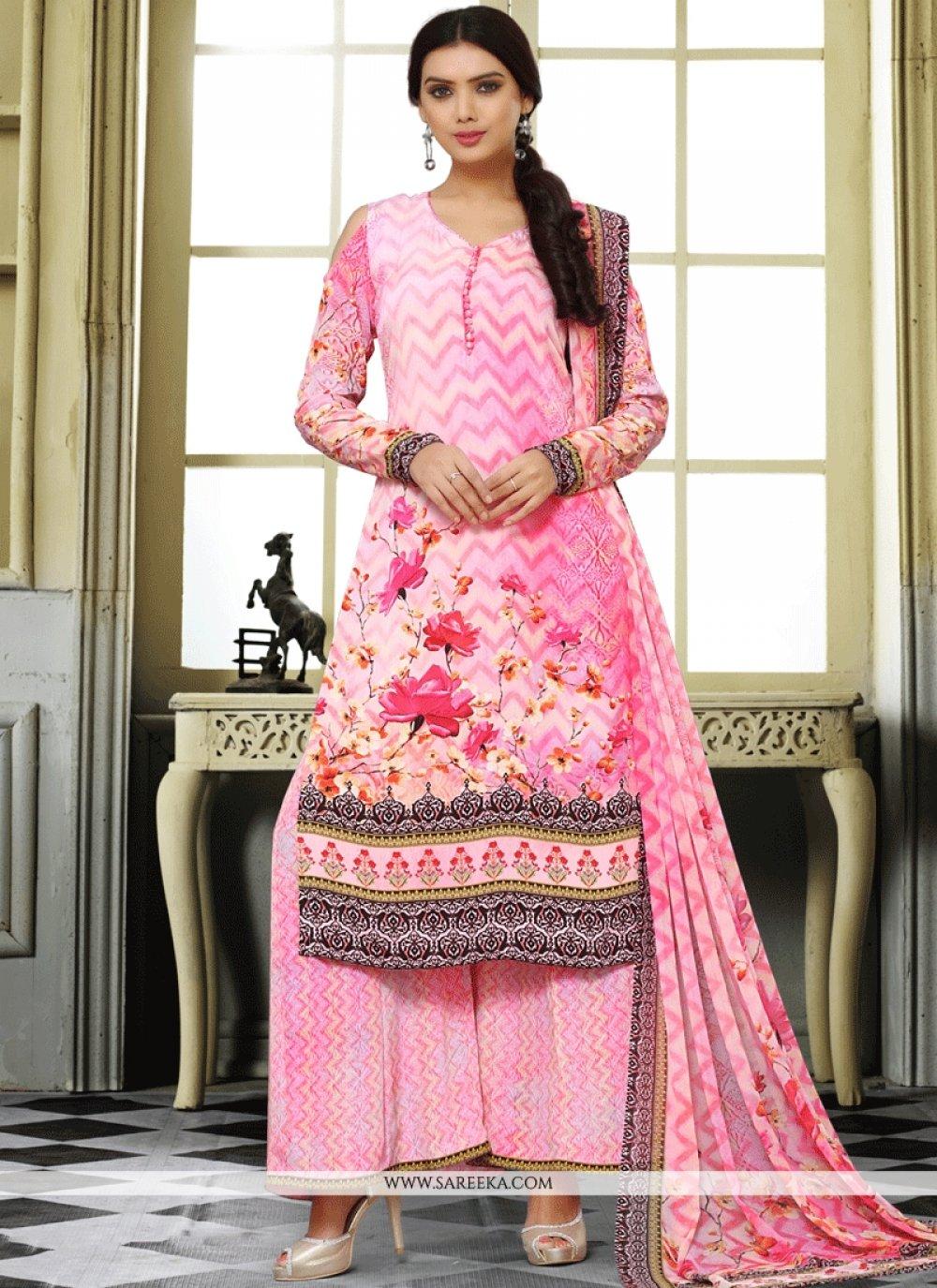Faux Crepe Pink Print Work Designer Palazzo Salwar Kameez