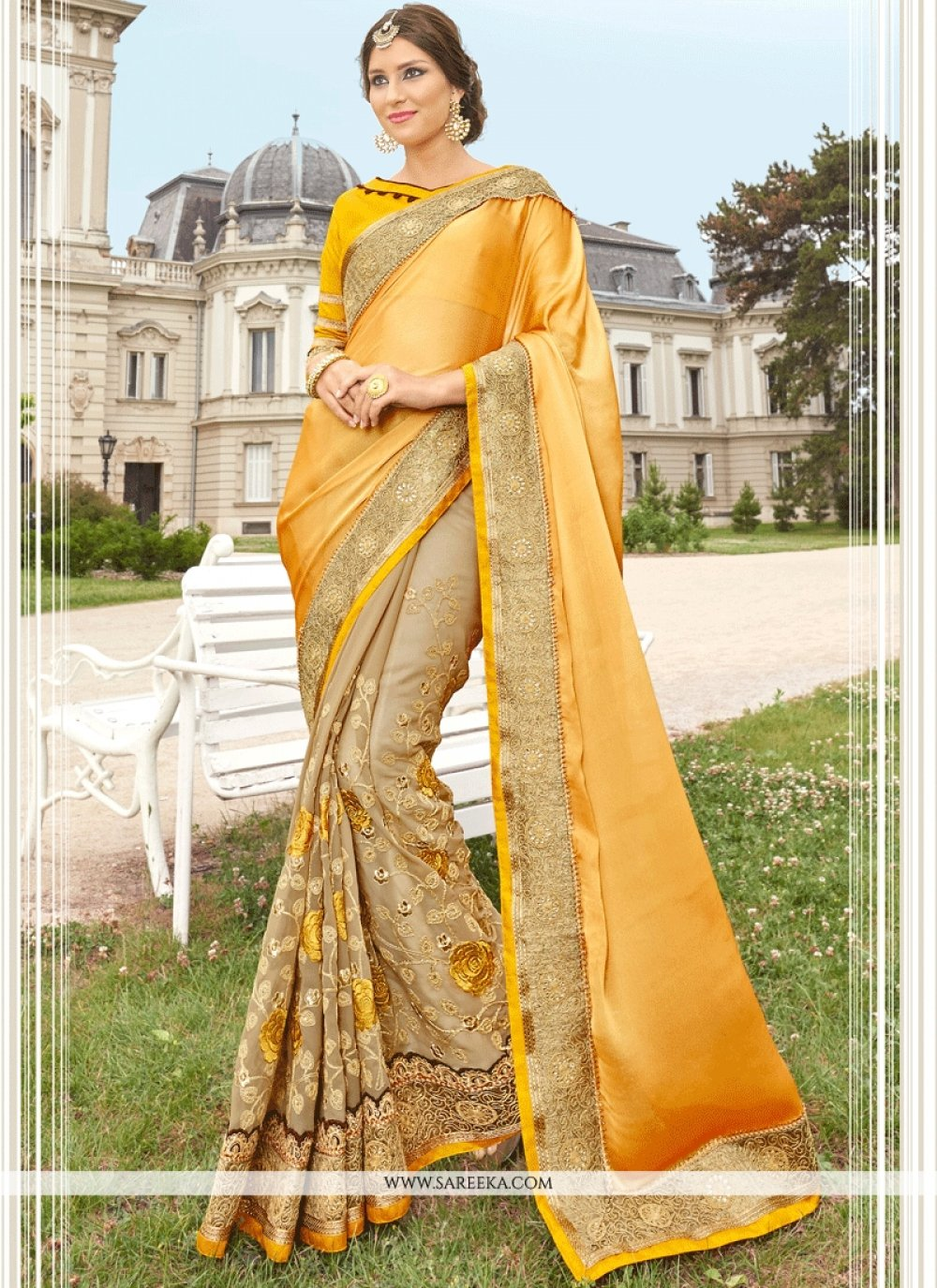 Faux Georgette Beige and Yellow Patch Border Work Classic Designer Saree