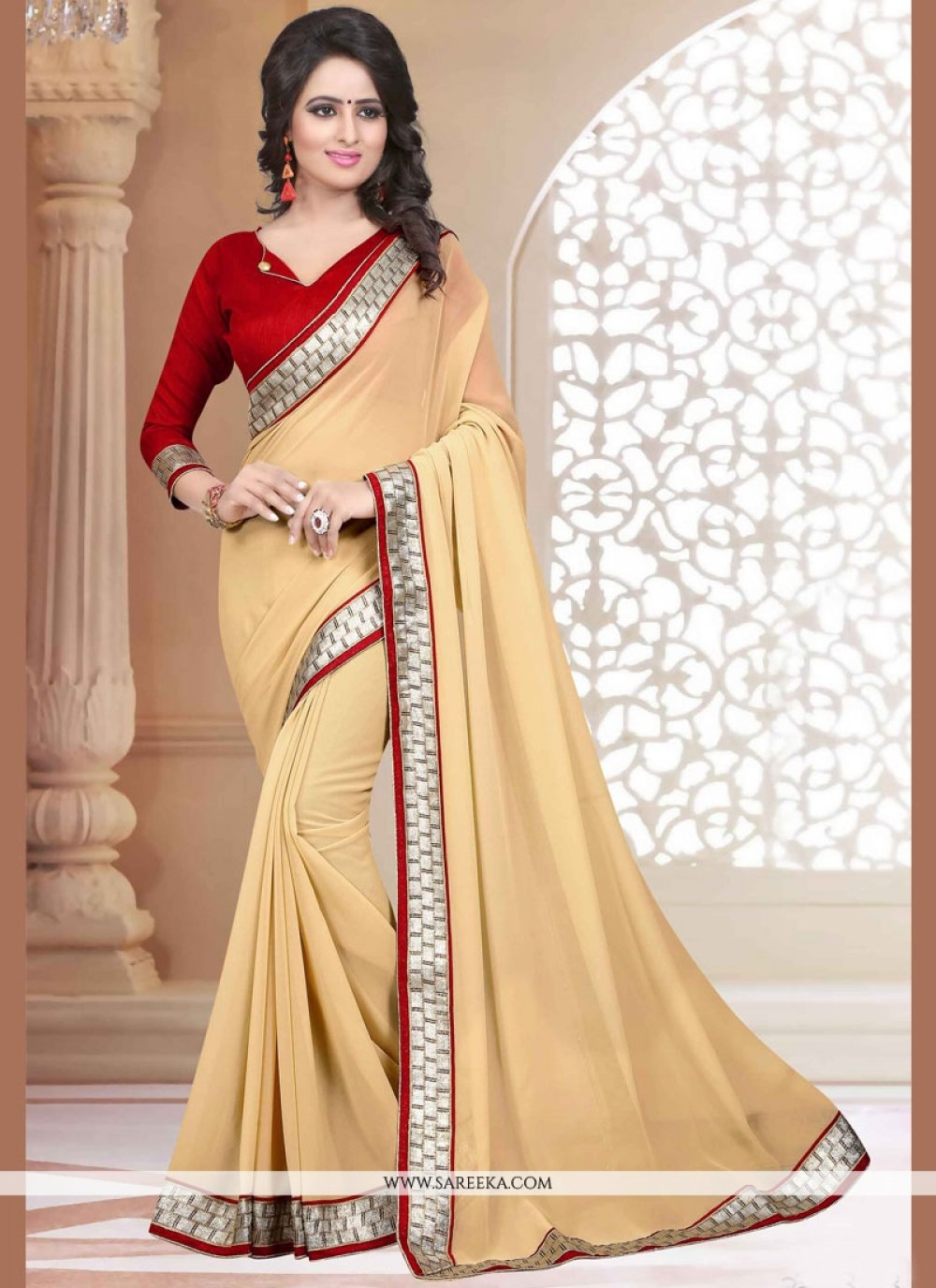 Faux Georgette Beige Casual Saree