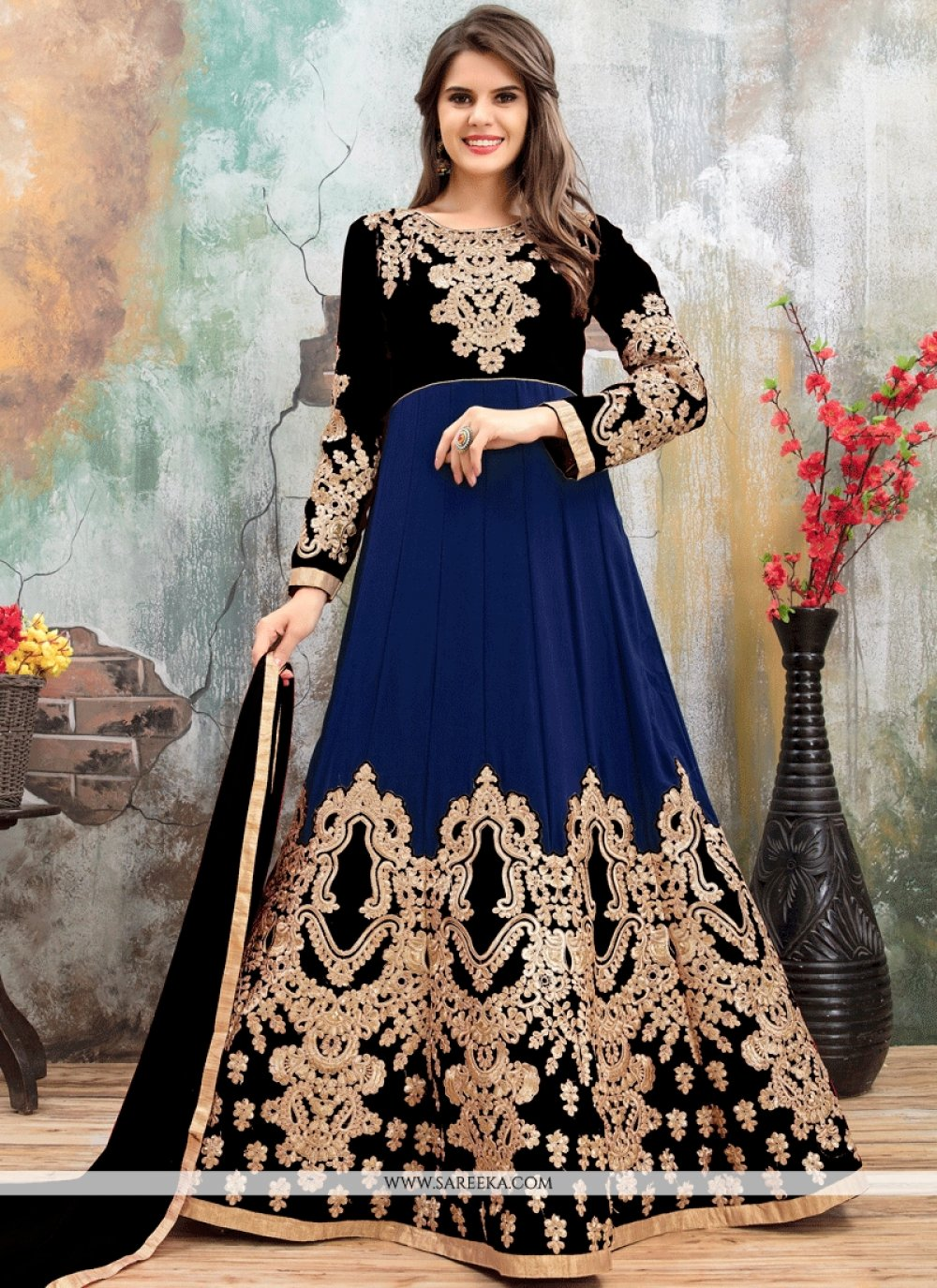 Faux Georgette Black and Blue Embroidered Work Floor Length Anarkali Suit