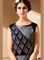 Faux Georgette Black and Grey Party Wear Kurti