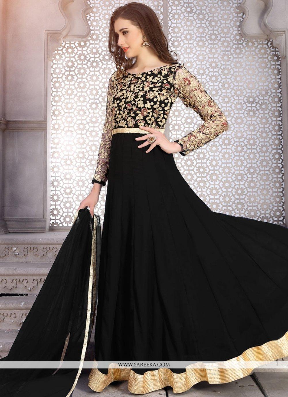 Faux Georgette Black Lace Work Floor Length Anarkali Suit