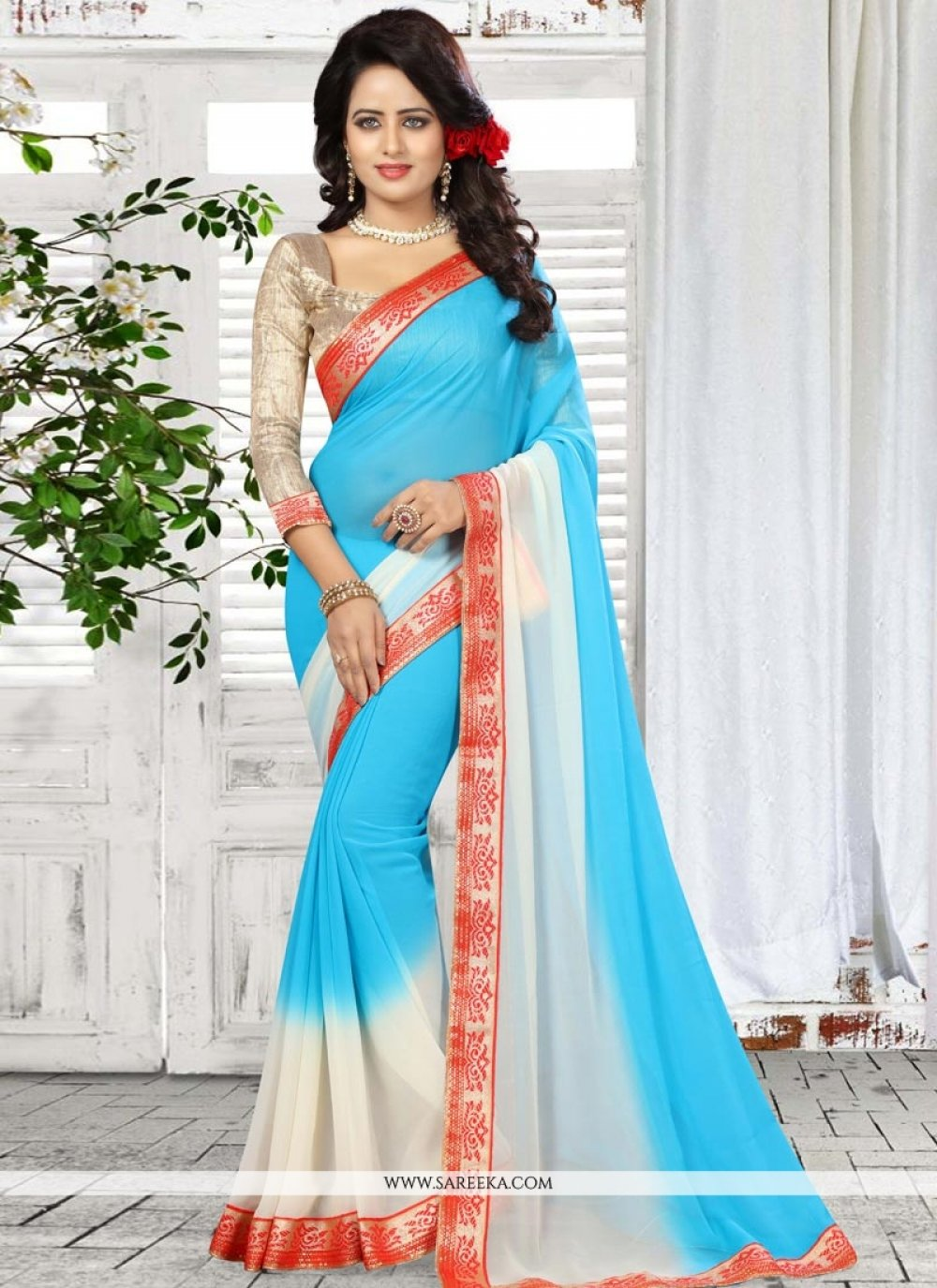 Faux Georgette Blue Shaded Saree