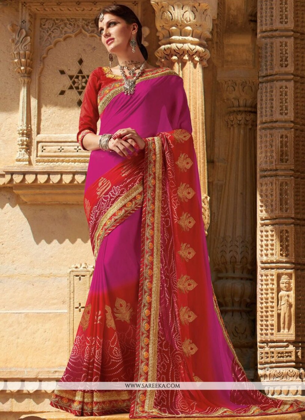 Faux Georgette Embroidered Work Printed Saree