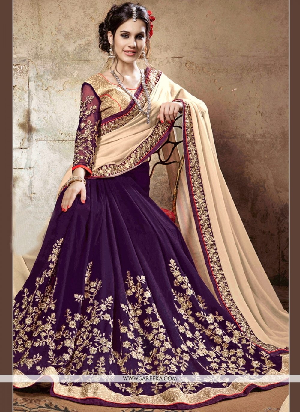 Faux Georgette Gold and Purple Resham Work Half N Half Designer Saree