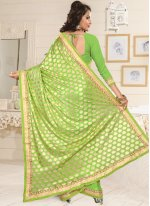 Faux Georgette Green Lace Work Designer Saree