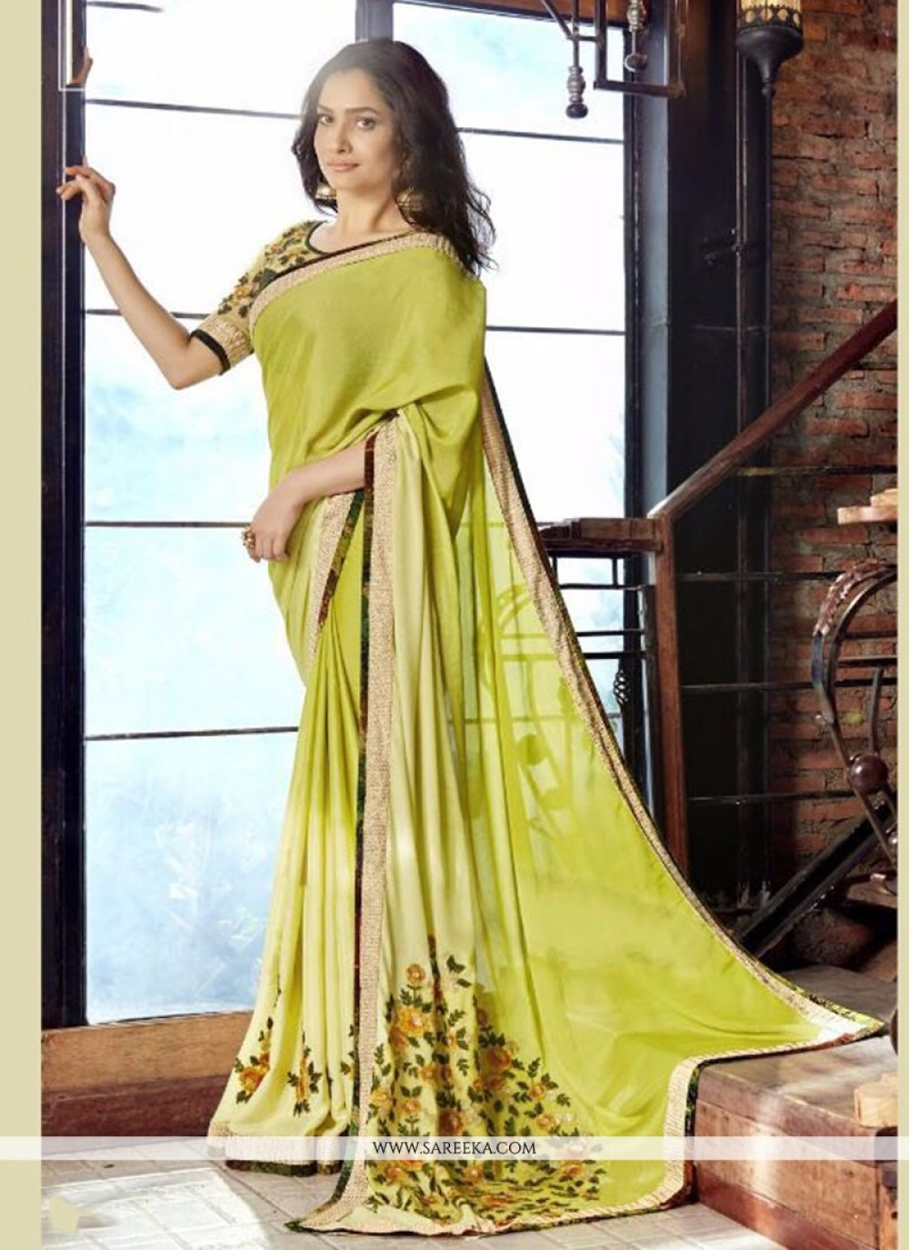 Faux Georgette Green Patch Border Work Classic Saree