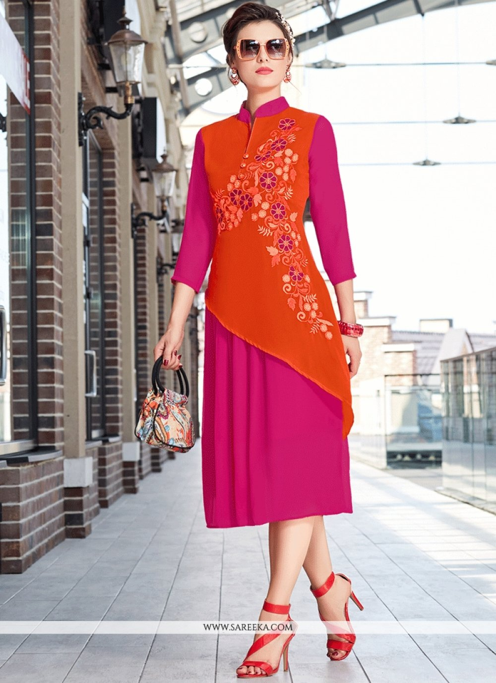 Faux Georgette Hot Pink and Orange Party Wear Kurti