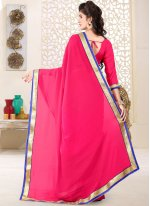 Faux Georgette Hot Pink Casual Saree