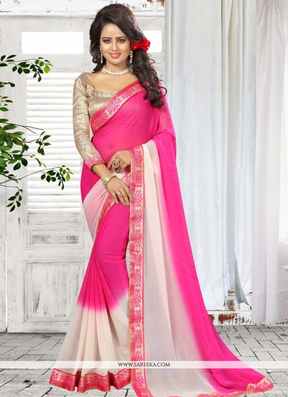 Faux Georgette Hot Pink Shaded Saree