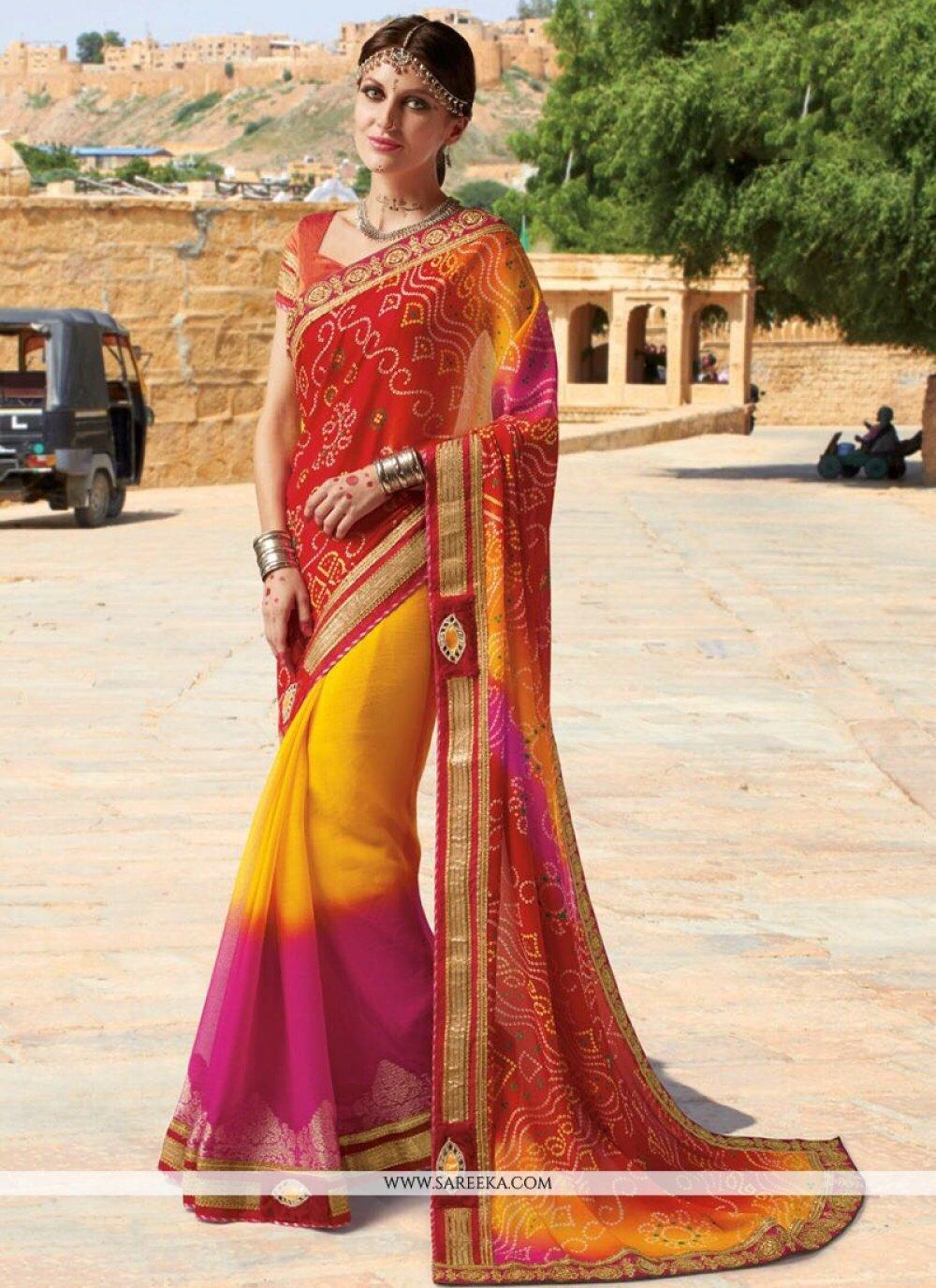 Faux Georgette Multi Colour Lace Work Printed Saree