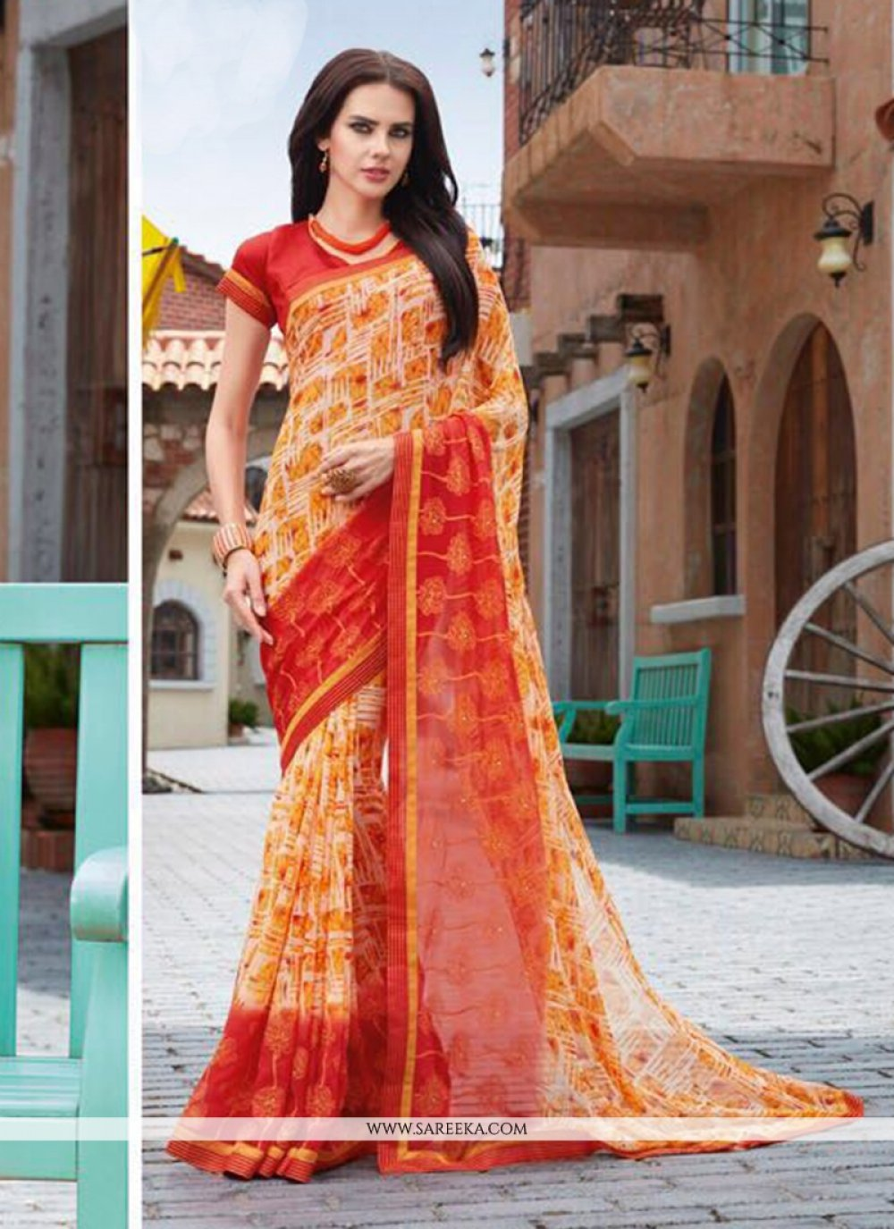 Faux Georgette Multi Colour Print Work Casual Saree