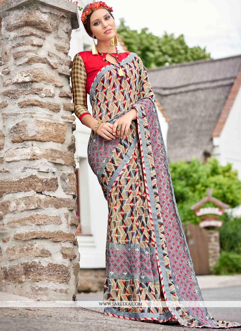 d825225617e Buy Faux Georgette Multi Colour Print Work Printed Saree Online - Party  Wear Sarees