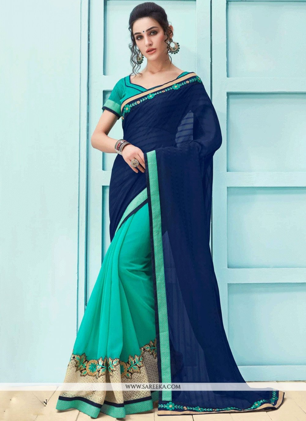 Faux Georgette Navy Blue and Turquoise Lace Work Designer Half N Half Saree