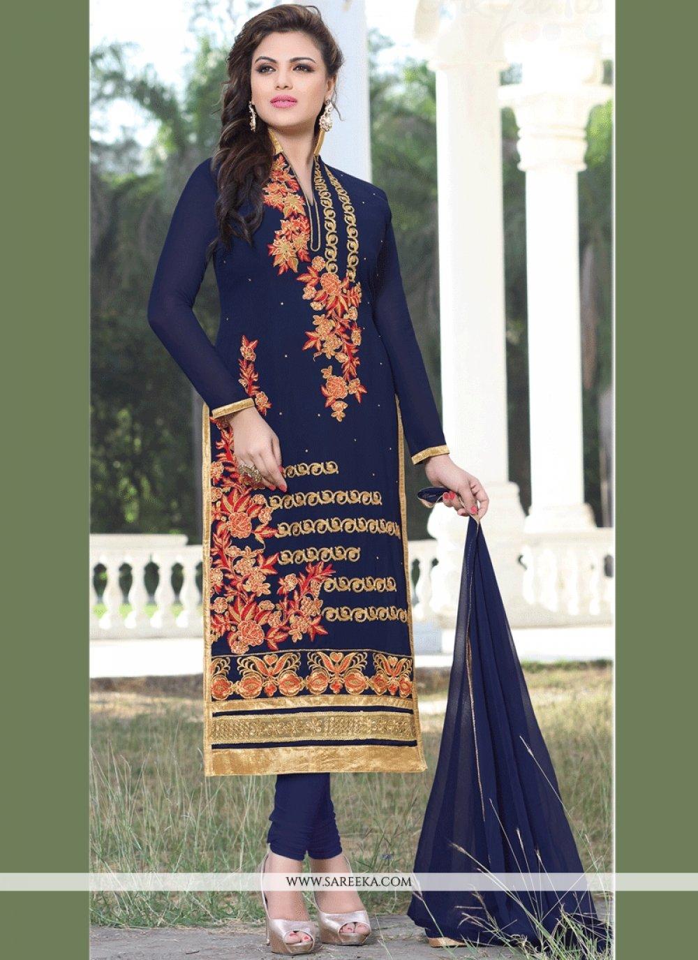 Faux Georgette Navy Blue Lace Work Churidar Designer Suit
