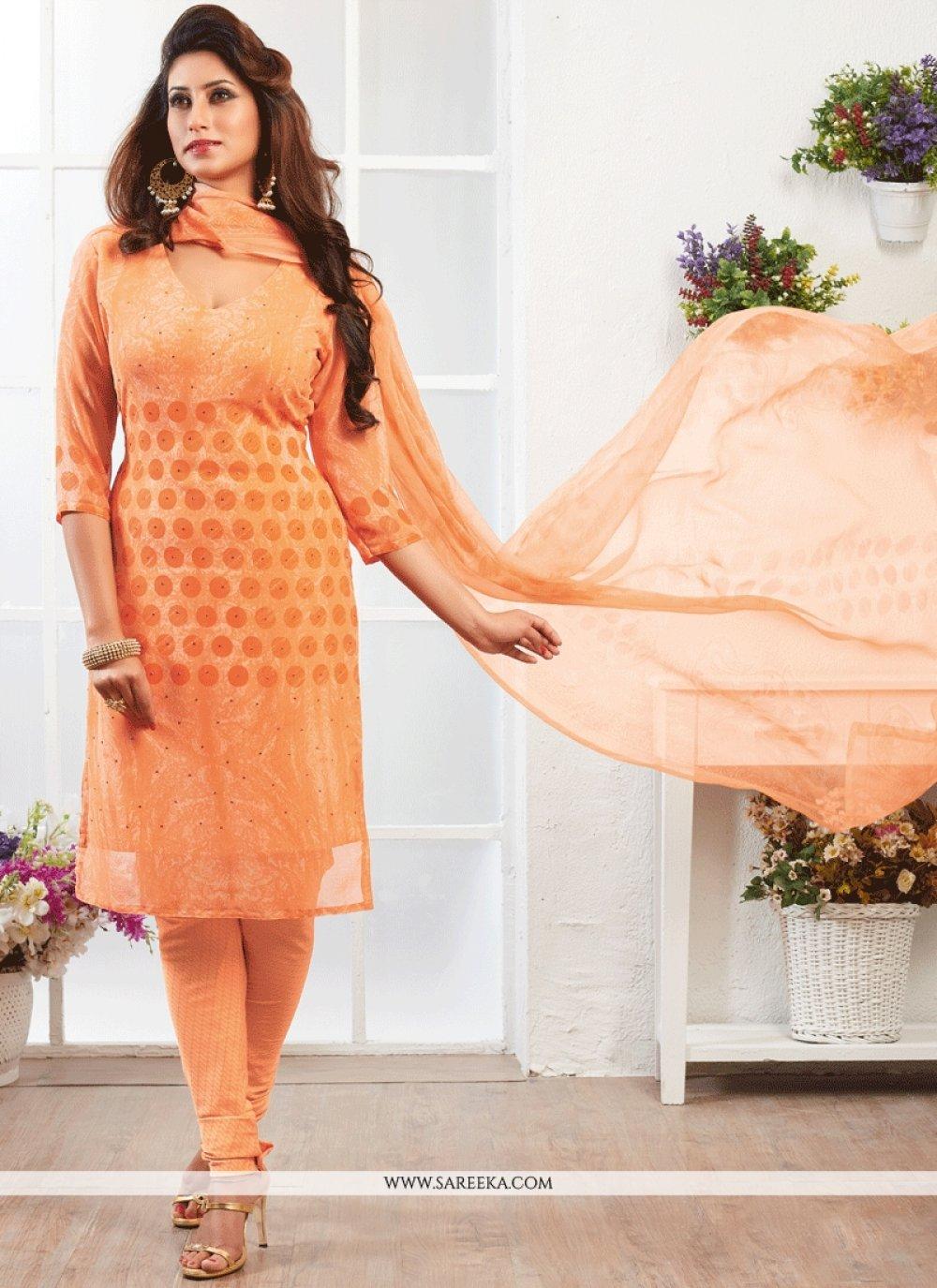 Faux Georgette Orange Print Work Churidar Suit