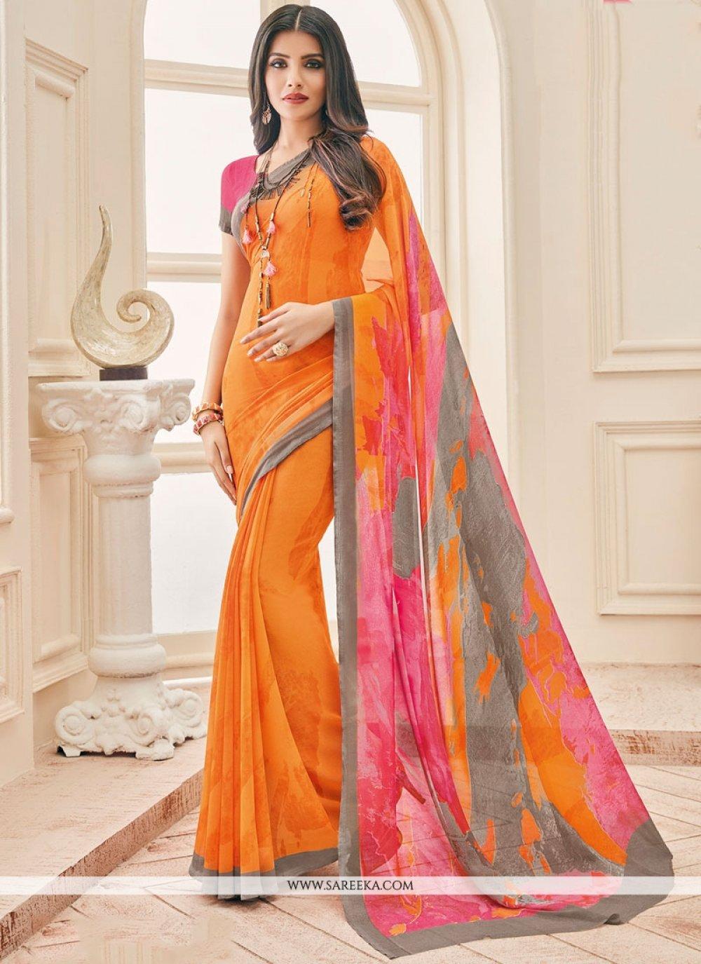 Faux Georgette Orange Printed Saree