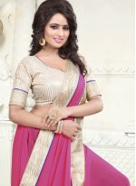 Faux Georgette Patch Border Work Casual Saree