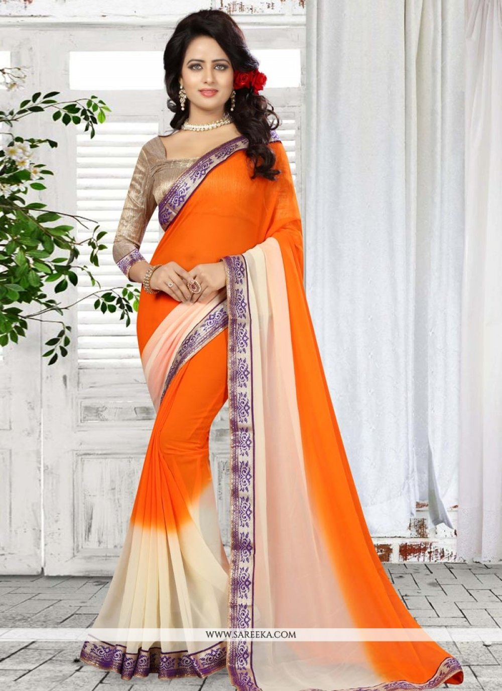 Faux Georgette Patch Border Work Shaded Saree
