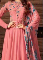 Faux Georgette Pink Anarkali Suit