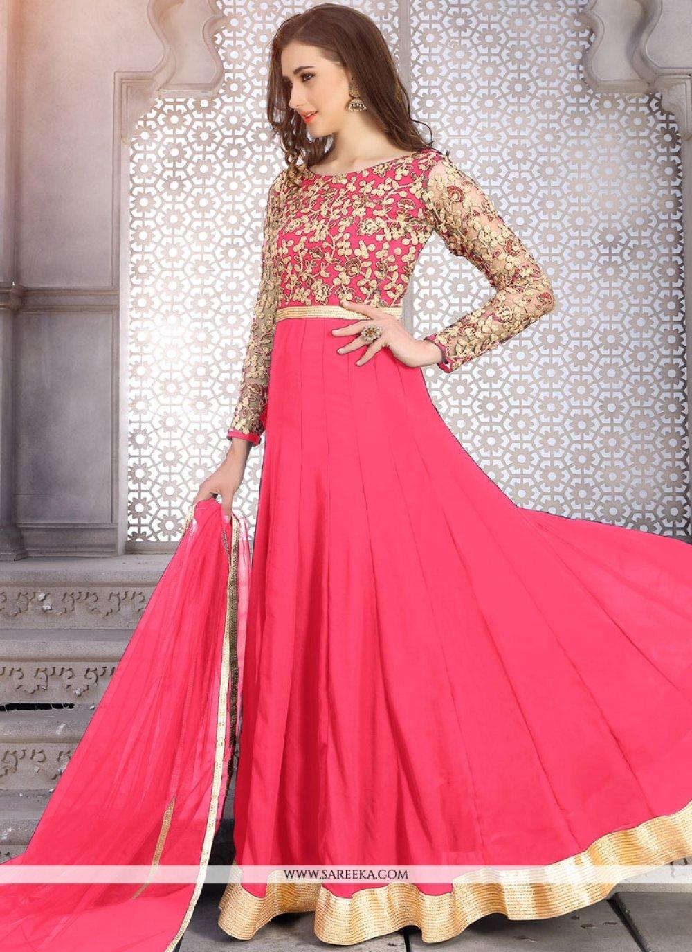Faux Georgette Pink Embroidered Work Floor Length Anarkali Suit