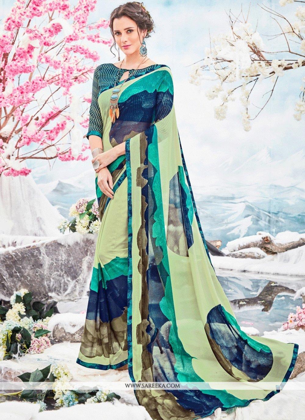 Faux Georgette Print Work Printed Saree