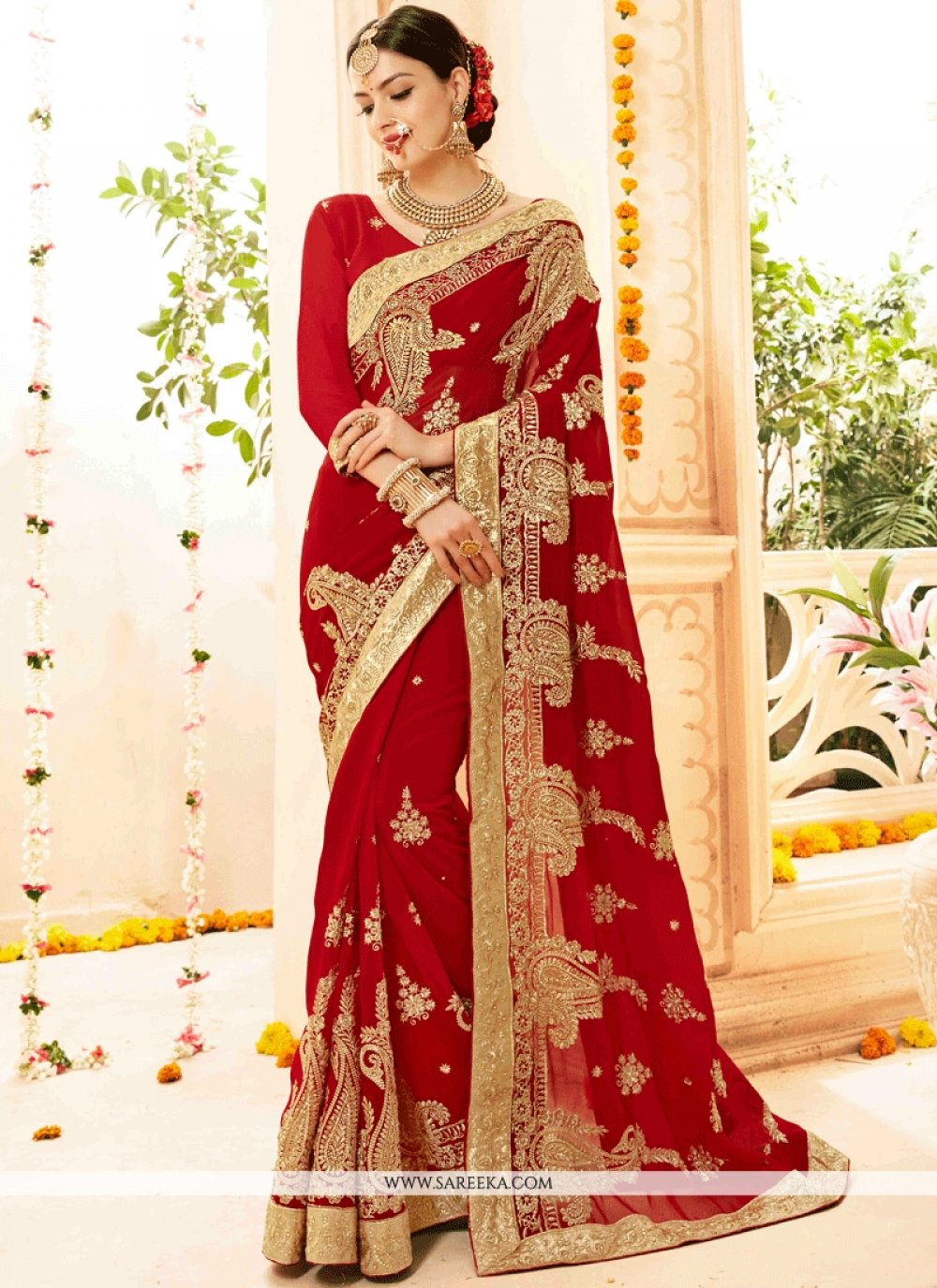 Faux Georgette Red Classic Designer Saree