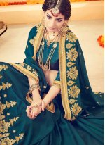 Faux Georgette Teal Embroidered Work Classic Designer Saree