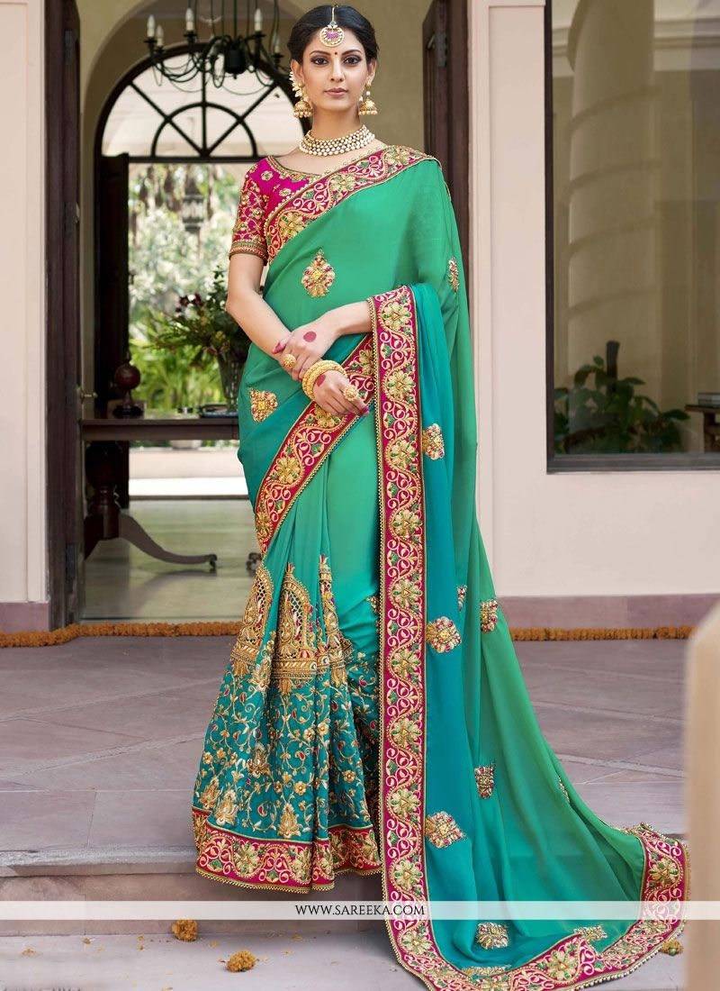 Buy Fancy Fabric Sea Green Designer Bridal Sarees Online : Mauritius -