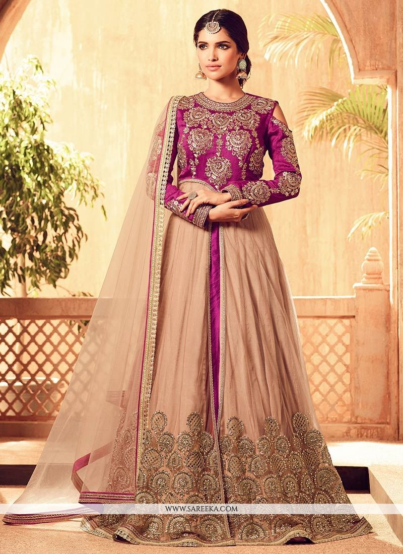 Magenta Designer Floor Length Suit
