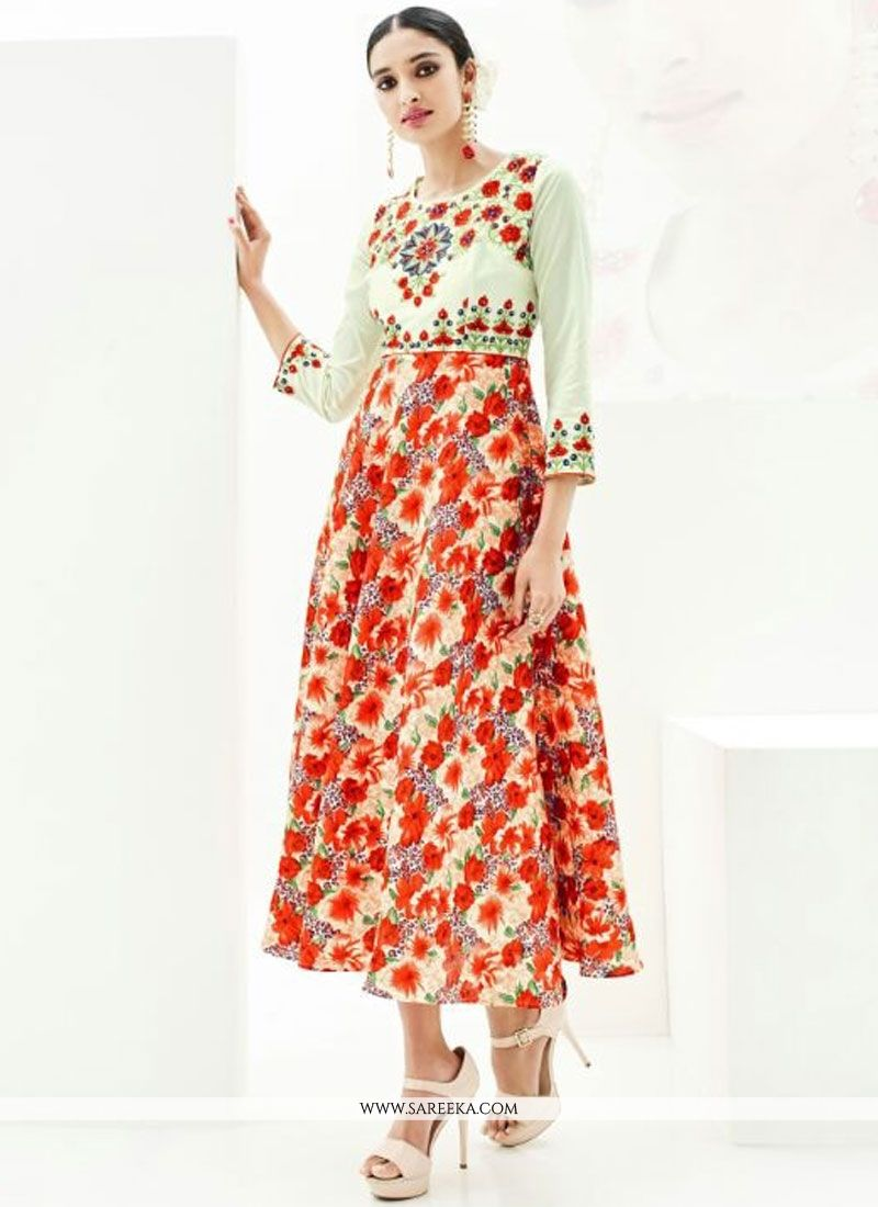 Print Work Multi Colour Satin Designer Kurti