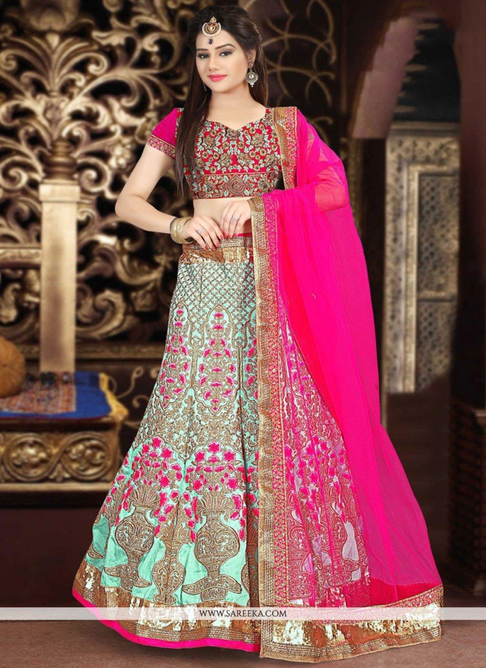 Hot Pink and Turquoise Embroidered Work Art Silk Lehenga Choli