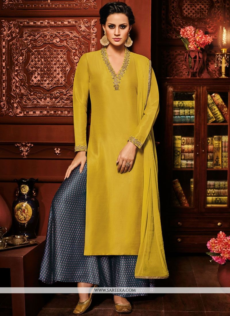 Mustard Art Silk Designer Suit
