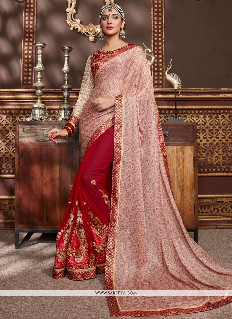 4b80c26524 Buy Patch Border Work Designer Half N Half Saree Online : South Africa -