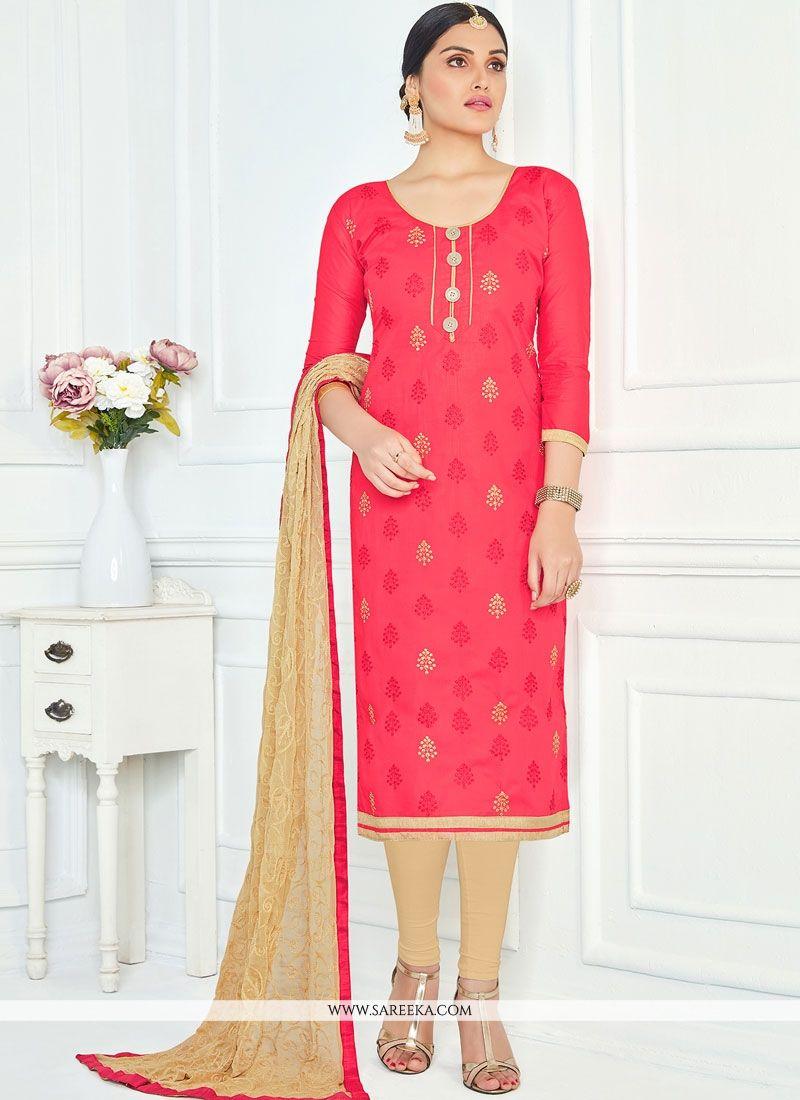 Rose Pink Lace Work Cotton   Churidar Suit