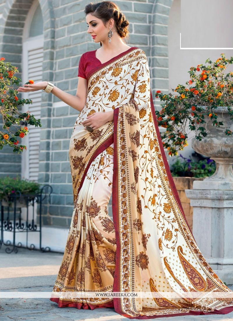 Faux Crepe Printed Saree