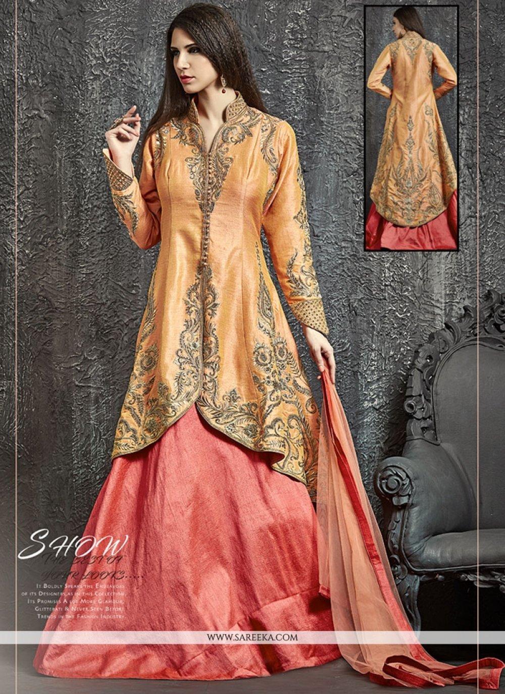 Raw Silk Orange and Pink Kasab Work Lehenga Choli