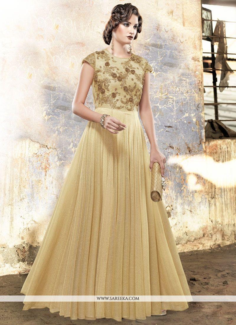 Buy Fancy Fabric Resham Work Readymade Gown Online : UAE - Gown