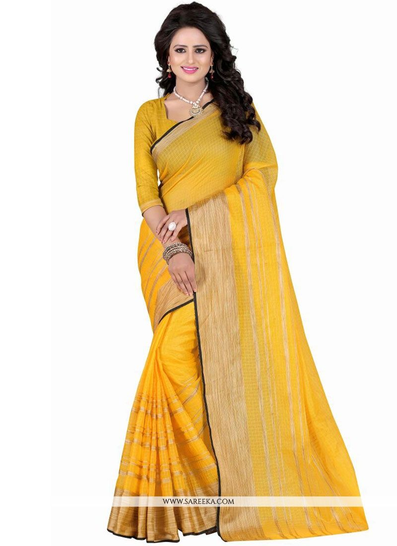 Polly Cotton Yellow Patch Border Work Casual Saree