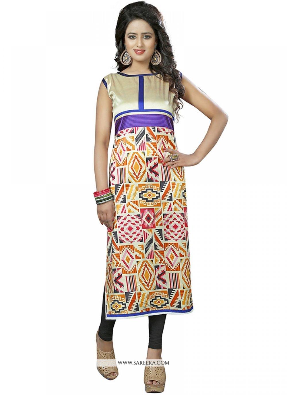 Print Work Multi Colour Party Wear Kurti