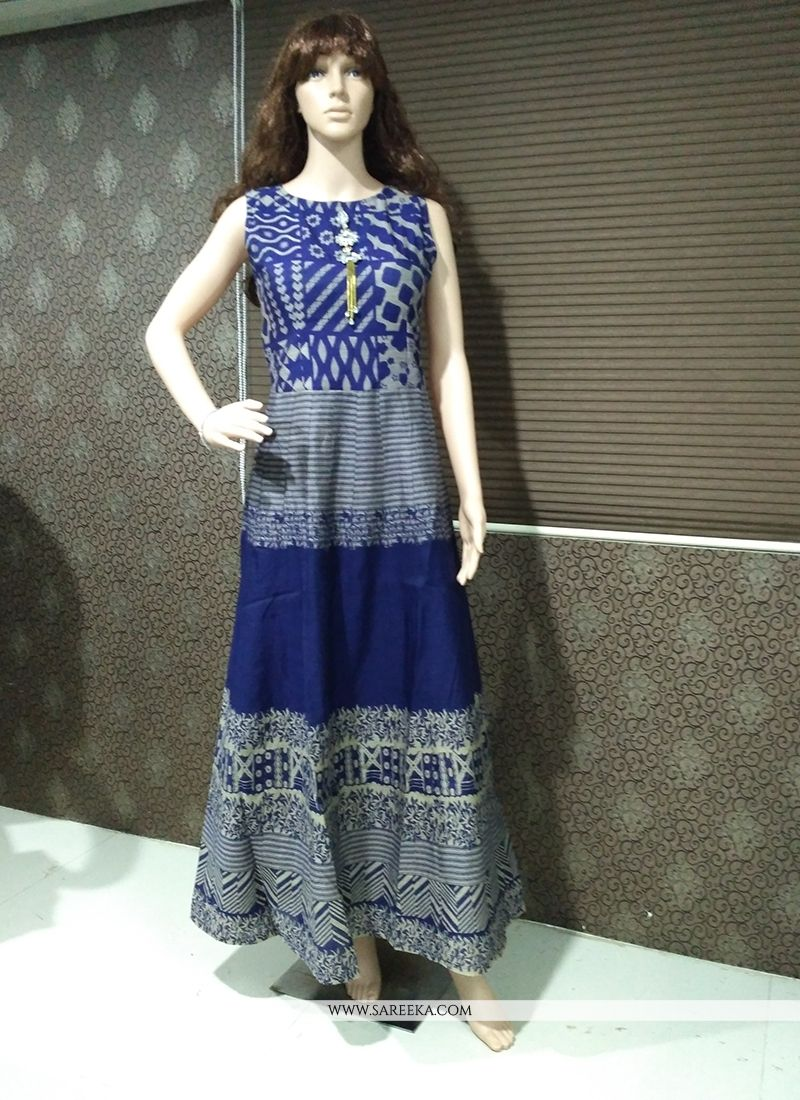 Banarasi Silk Print Work Readymade Gown