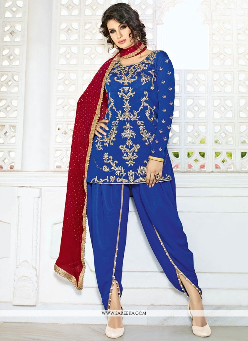 f73821ad3f Buy Blue Stone Work Punjabi Suit Online : Germany -