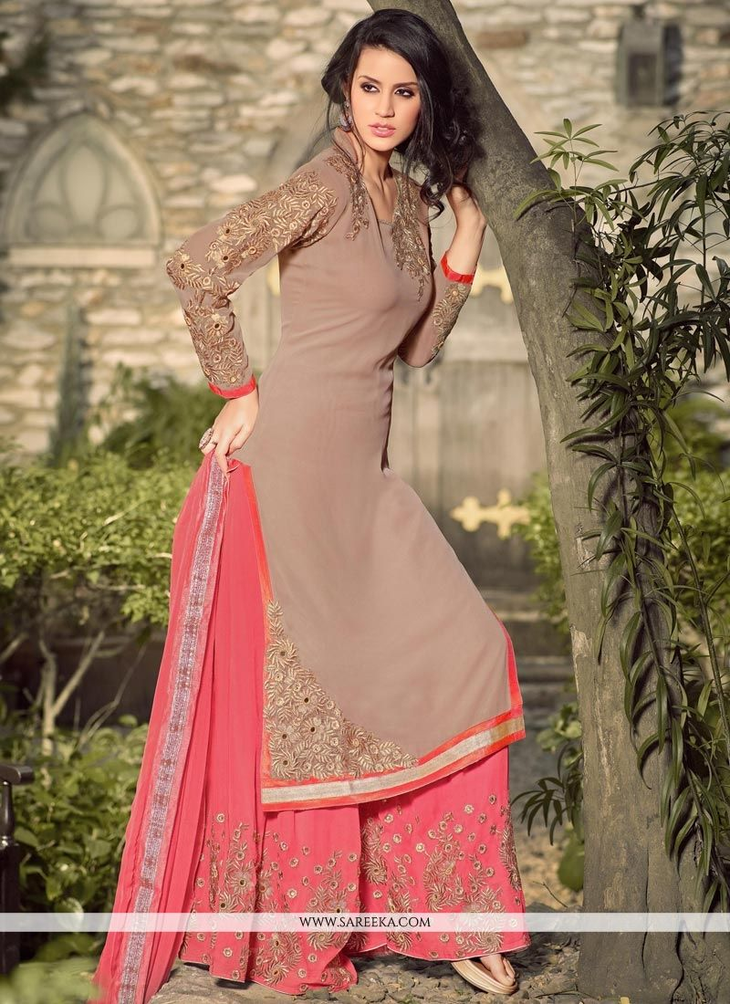 91243a355e8 Buy Lace Work Brown and Pink Georgette Palazzo Suit Online   France -