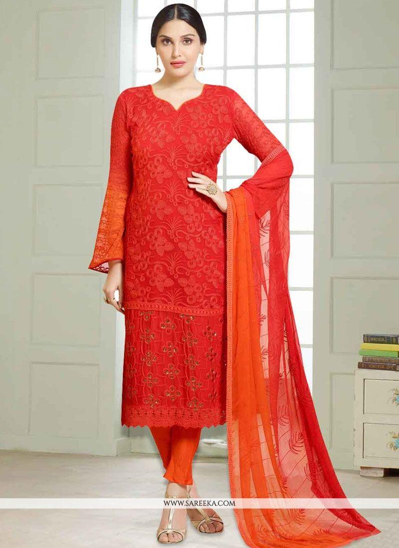 Orange Embroidered Work Churidar Suit