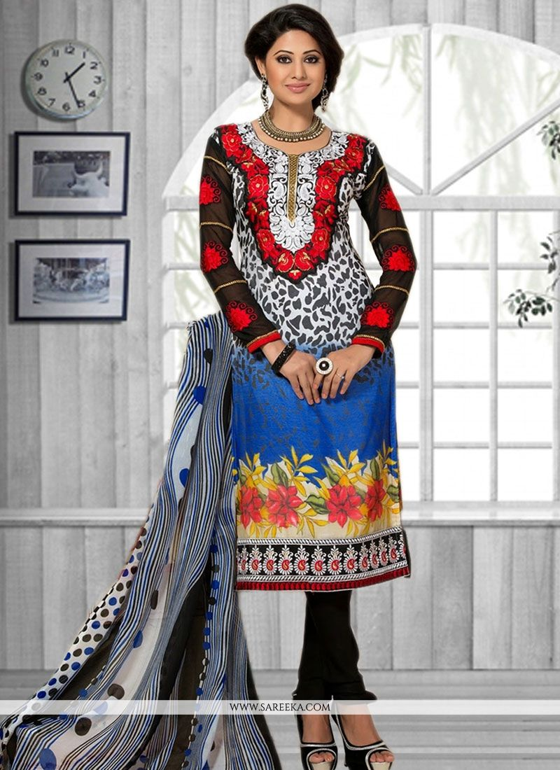 Faux Chiffon Multi Colour Churidar Suit