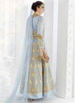 Faux Georgette Blue Resham Work Floor Length Anarkali Suit