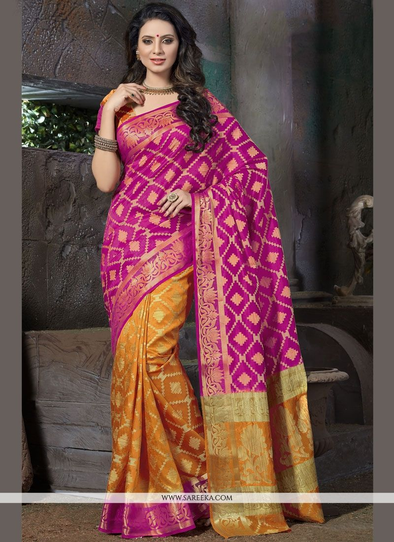 Hot Pink and Mustard Traditional  Saree