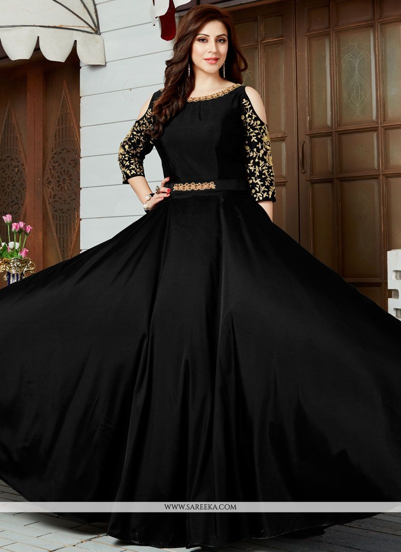 buy art silk black floor length anarkali suit online